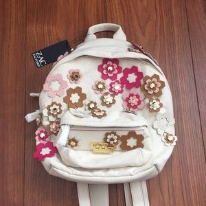 Zac Zacposen backpack beige with pink flowers NWT